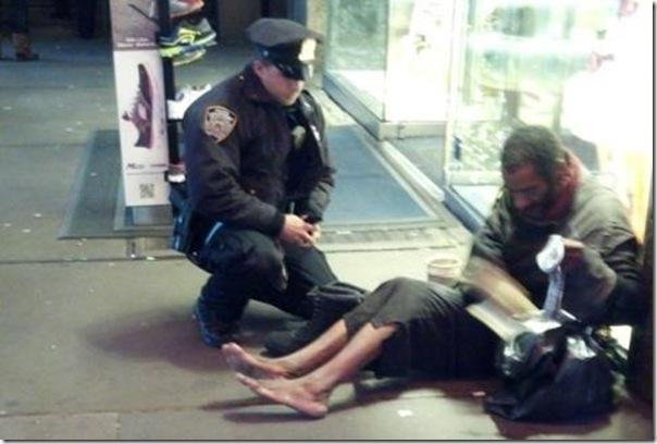 homeless man gets boots