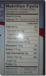 smart ones nutritional facts