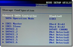 storage configuration bios menu