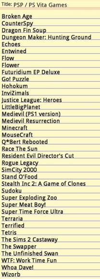 PS Vita game list