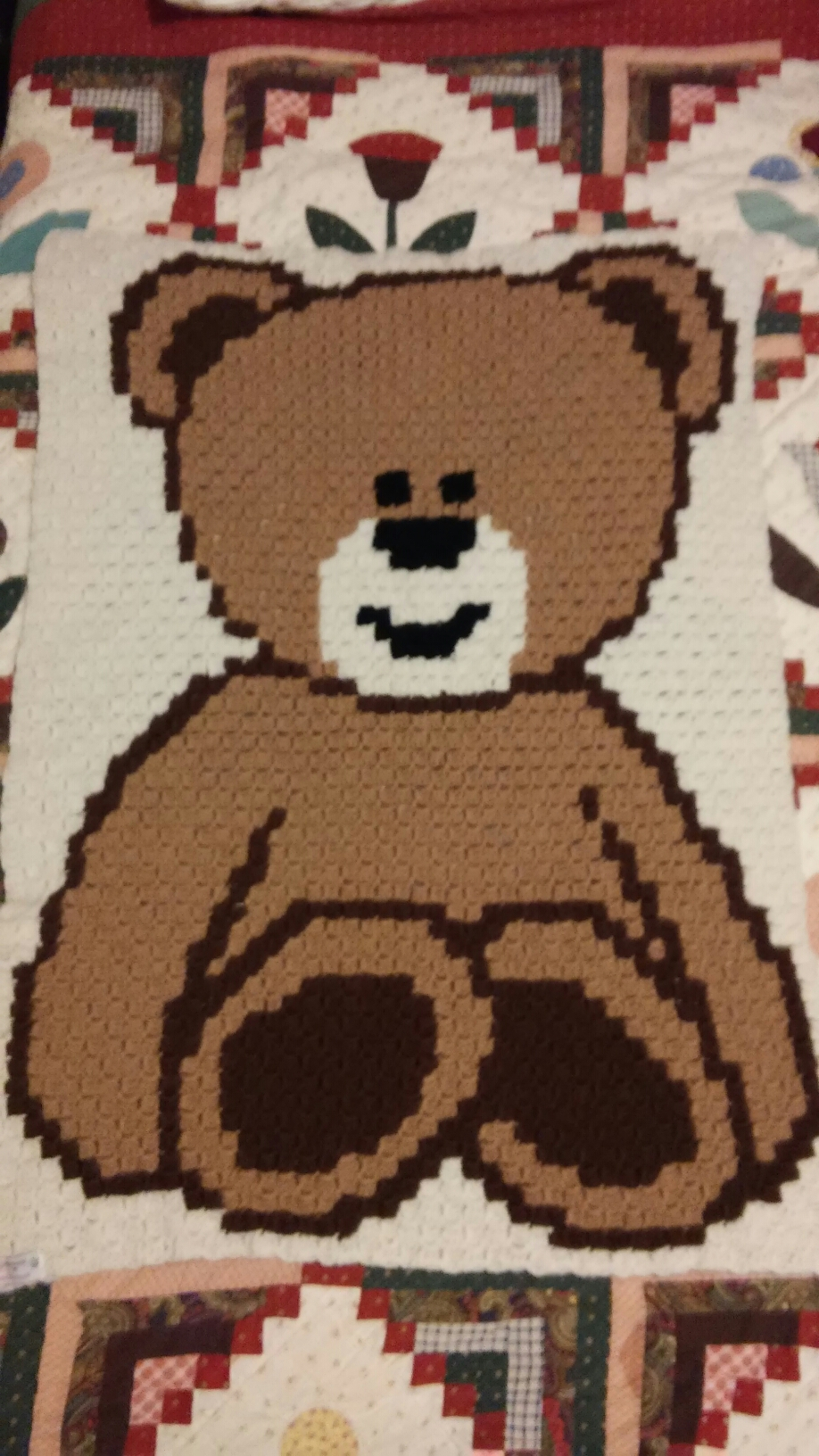 Teddy Bear Granny Square Baby Blanket | 1632x918
