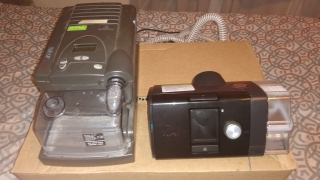 My 15 year old BiPAP Machine left vs my new CPAP machine right.